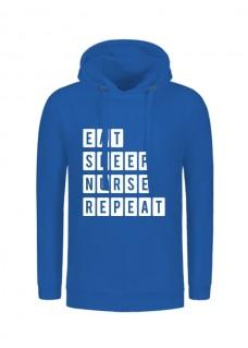 Hoodie Eat Sleep Nurse Repeat Blau