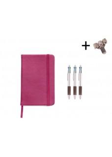 Set Notizbuch A5 + Farbkugelschreiber Rosa