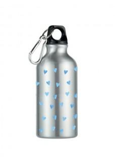 Trinkflasche Blaue Herzen Silber