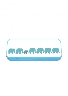 Multifunktionales Metalletui Blau Elefanten