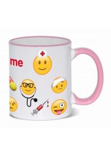Tasse Emoji Nurse mit Namensaufdruck Rosa