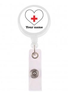 Ausweis-Jojo Weißes Herz mit Namensaufdruck
