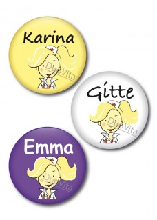 Button blonde Krankenschwester
