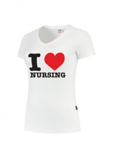 Damen T-Shirt I love Nursing Weiß