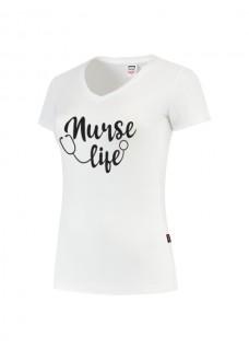 Damen T-Shirt Nurse Life Weiß