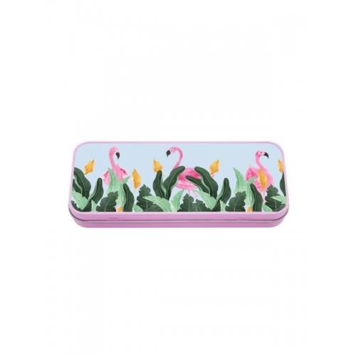 Multifunktionales Metalletui Flamingos
