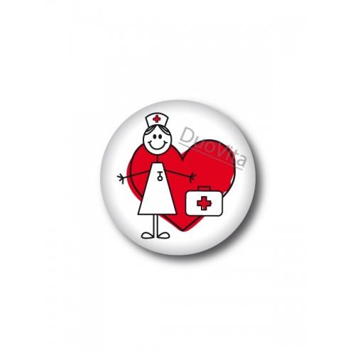 Button Stick Nurse Heart