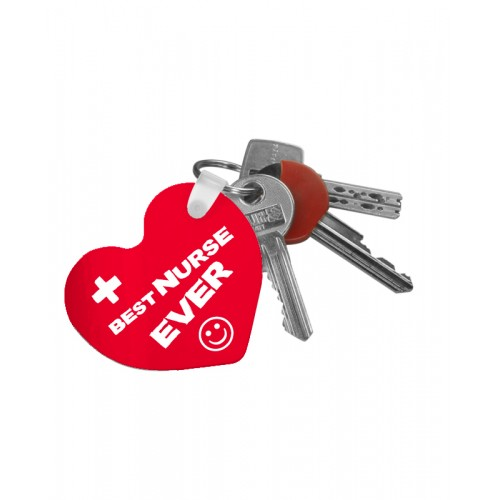 Schlüsselanhänger Herz Best Nurse Ever mit Namensaufdruck