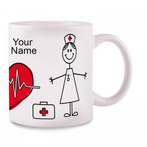 Tasse Stick Nurse mit Namensaufdruck