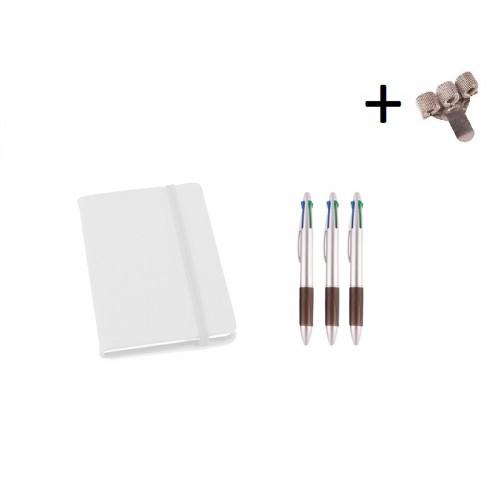 Set Notizbuch A5 + Farbkugelschreiber Weiß