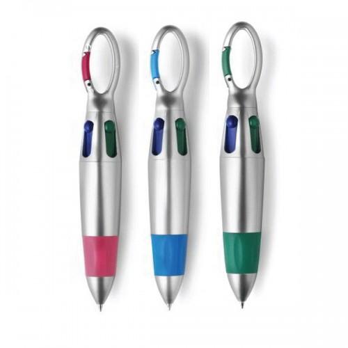 Vier-Farbkugelschreiber mit Karabiner 3er Set